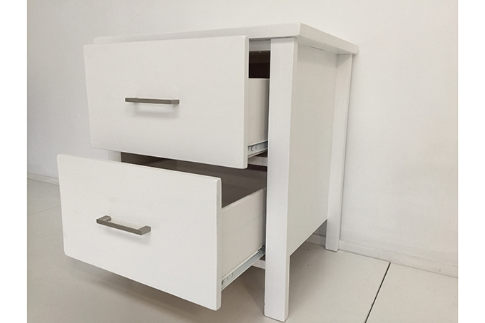 Tina Solid Wood 2 Drawer Bedside Table White Colour