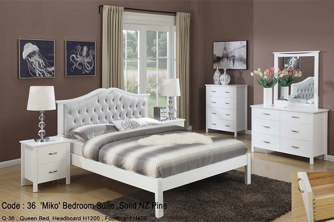 Miko French Style Wooden White Queen, White Bedroom Furniture Nz