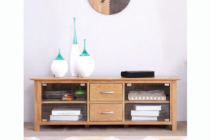 Southland Solid Oak 140 Tv Unit With Glass Doors Furniture Bazaar Nz