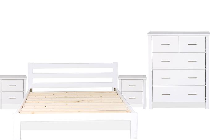Tina 4 Pcs Solid Wood Bedroom Furniture, White Bedroom Furniture Nz